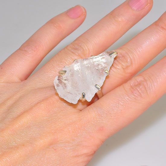 Sterling Silver Clear Quartz Arrowhead Piece Ring