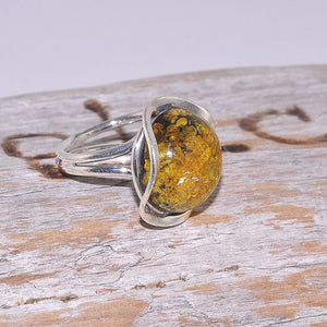 Sterling Silver Baltic Green Amber Button Ring