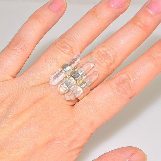 Chrystal cluster ring  quarz ring  solid 999 silver