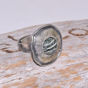 Oxidized Sterling Silver Vintage Zebra Jasper Medallion Ring