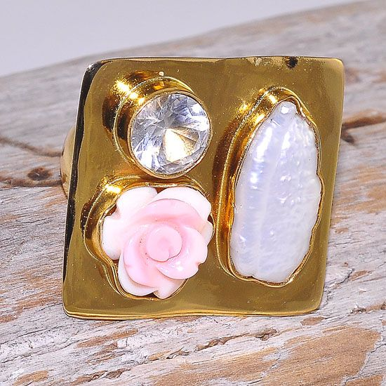 Charles Albert Alchemia Rose Pearl, Biwa Pearl and Clear Quartz Square Ring