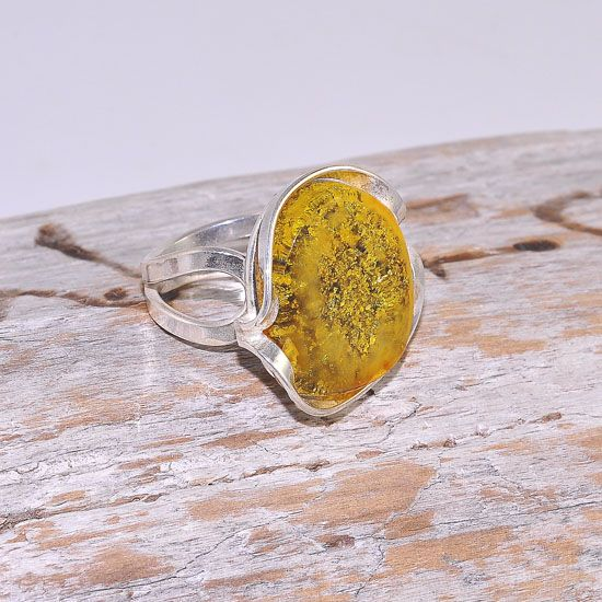 Sterling Silver Baltic Butterscotch Amber Nugget Ring