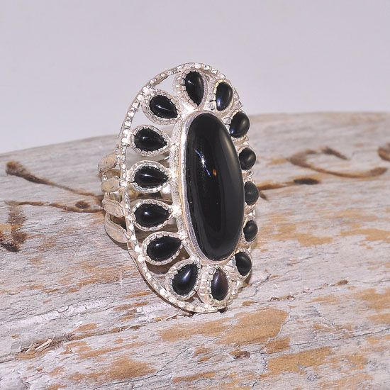 Sterling Silver India Onyx Gemstone Oval Ring