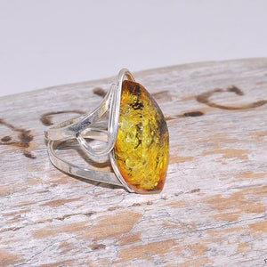 Sterling Silver Baltic Honey Amber Classic Ring
