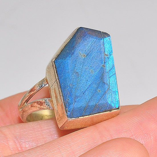 Sterling Silver Labradorite Geometric Slice Ring