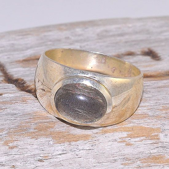Sterling Silver Labradorite Oval Band Ring