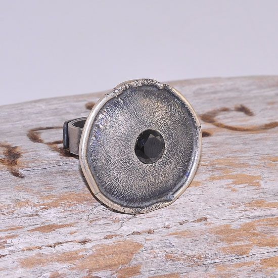 Oxidized Sterling Silver Garnet Bead Centered Medallion Ring