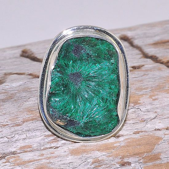 Sterling Silver Natural Crystal Malachite Gemstone Ring