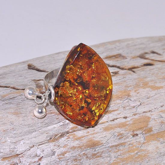 Sterling Silver Baltic Honey Amber Dangling Chain Ring