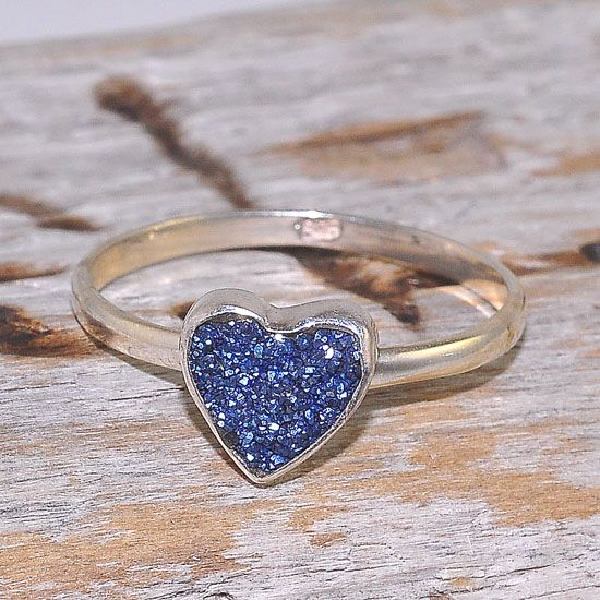 Sterling Silver Titanium Druzy Heart Shaped Delicate Ring