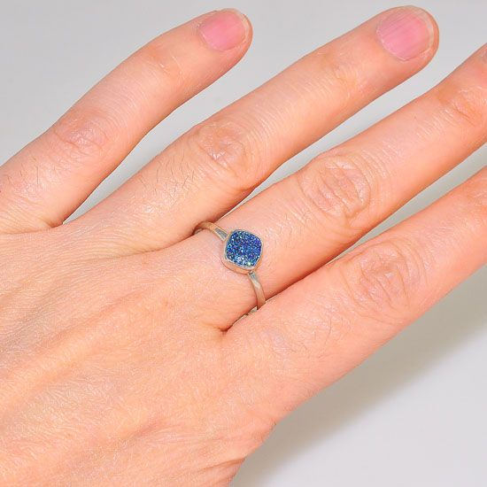 Sterling Silver Blue Titanium Druzy Delicate Ring