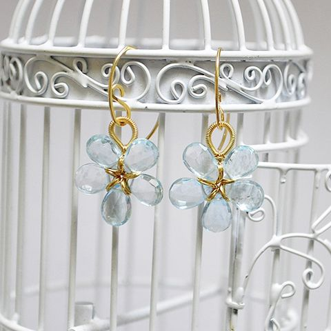 14 K Gold Fill Blue Topaz Flower Earrings