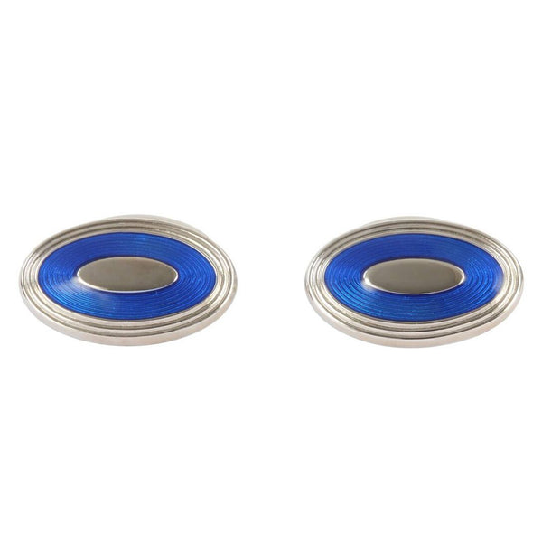 Ellipse Electric Blue British Made Cufflinks