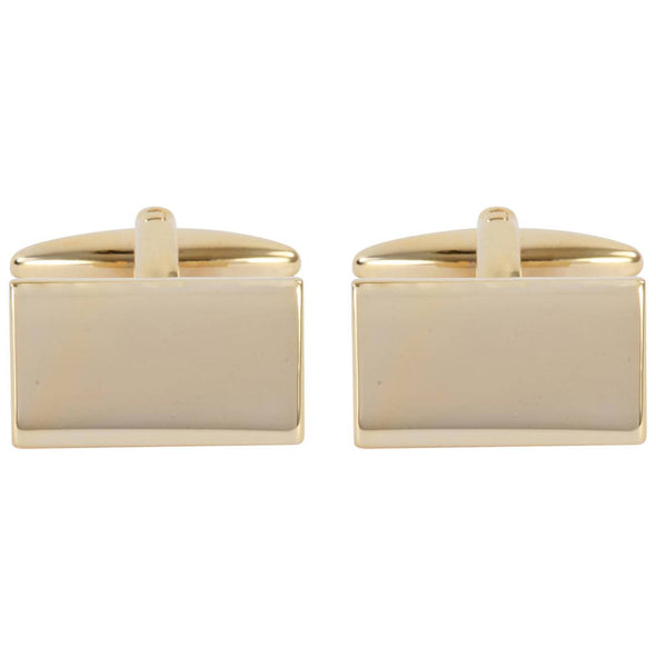Personalised Aster Gold Classic Rectangle Cufflinks