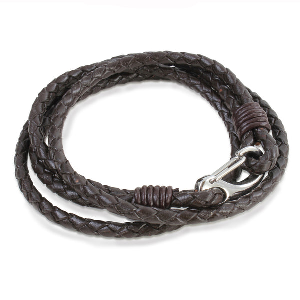 Samuel Brown Double Wrap Leather Bracelet