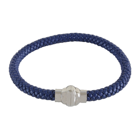 Isaac Blue Leather Bracelet with Silver Magnet Close