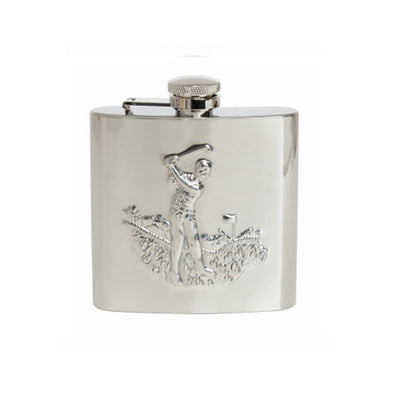 Hole in One Golfing Embossed Hip Flask