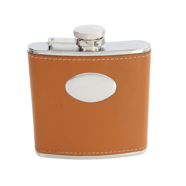 Gascon Brown Leatherette Hip Flask