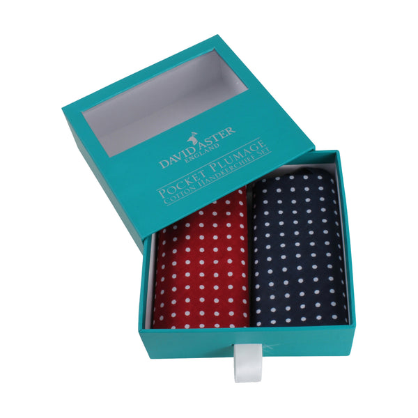 Gone Dotty red and Blue Spot Handkerchief Set