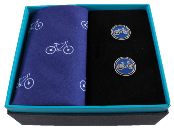 Bicycle Handkerchief & Cufflink Gift Set