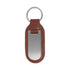 Brown Leather Brushed Finish Engravable Key Ring