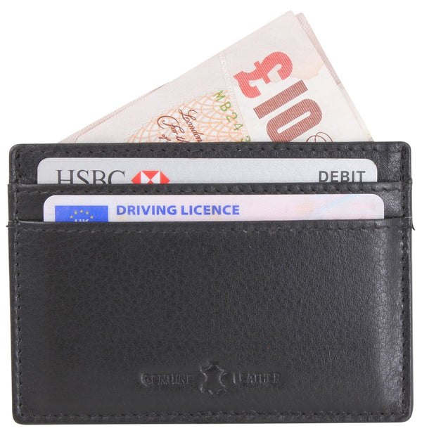 Amos Black RFID Lined Leather Credit Card Holder