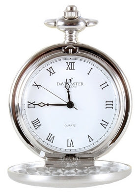 Silver Brushed Quartz Full Hunter Pocket Watch