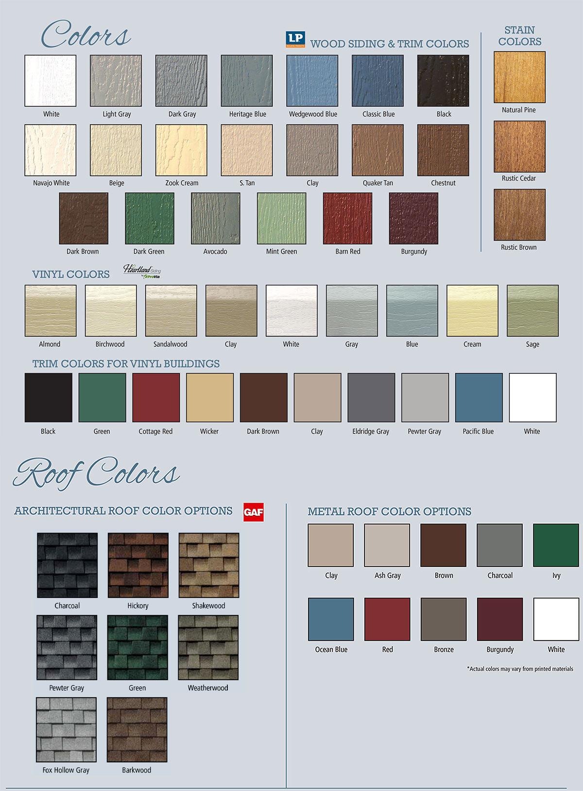 Esh Shed color options for siding and roof