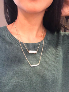 Natural Stone Layered Bar Necklace