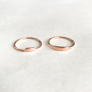 Bar & Moon Stackable Rings - Rose Gold