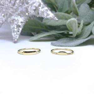 Bar & Moon Stackable Rings - Gold