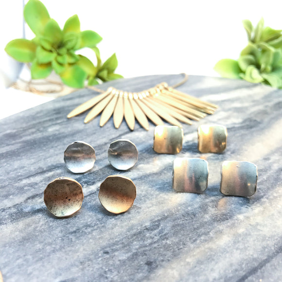 Hammered Geometric Studs