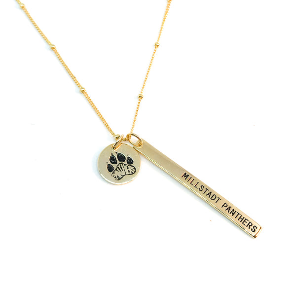 Millstadt School Spirit Necklace - Gold