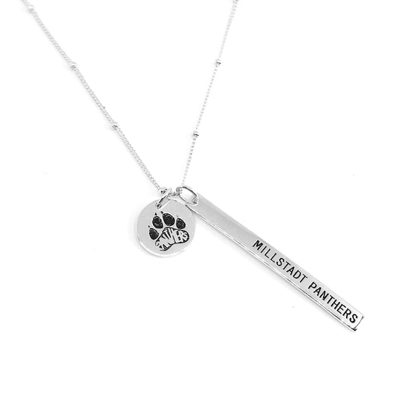 Millstadt School Spirit Necklace - White Gold