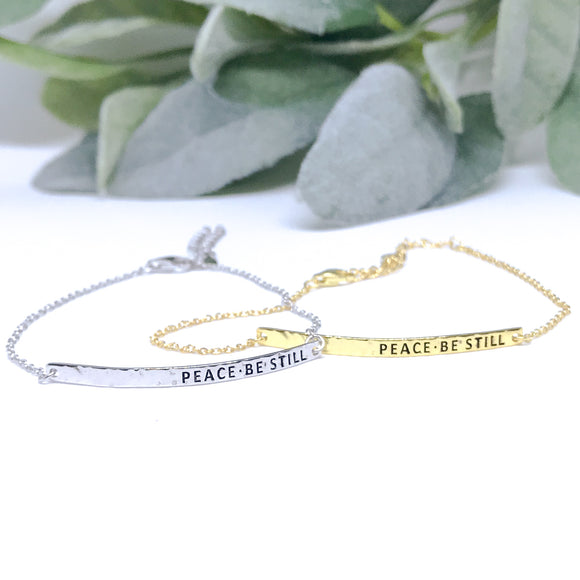 Peace Be Still Hammered Bar Bracelet