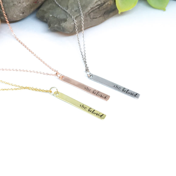 She Believed Vertical Bar Necklace