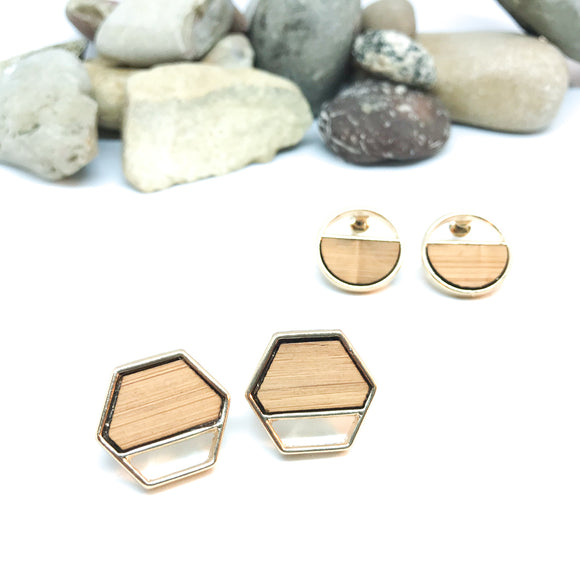 Wood Accent Geometric Studs