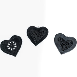 Black Clay Flat Heart