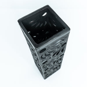 Black Clay Square Vase
