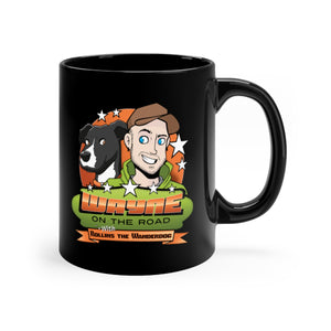 Wayne On The Road Cartoon Logo - Black 11oz Mug