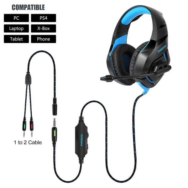 K1-B Gaming Headset Wired Surround Stereo with Microphone - XBOX/PS4/PC/MOBILE - Gamerz Swag