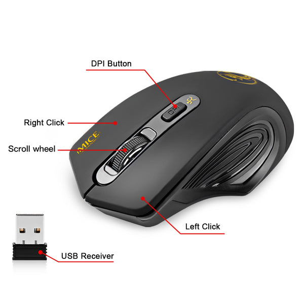 2000dpi USB Wireless Mouse - Gamerz Swag
