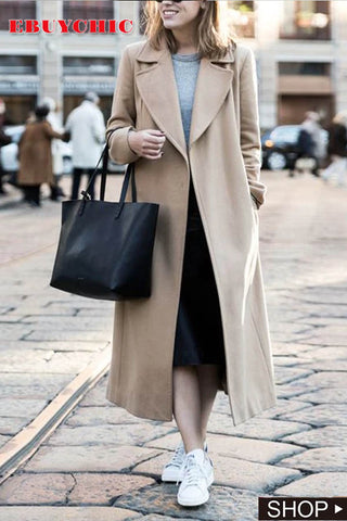 Casual Fashion Wide Lapel Shoulder Padded Slim Long Coat