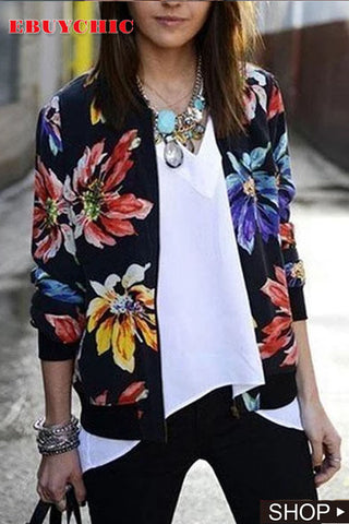 Casual Long Sleeve Zipper Printed Short Baseball Jacket Coat