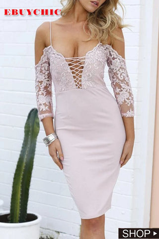 Casual Sexy Off The Shoulder Deep V Neck Sling Mini Bodycon Dresses