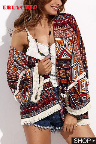 Casual Sexy Vacation Sandbeach Bohemian Style Printing Short Cardigans