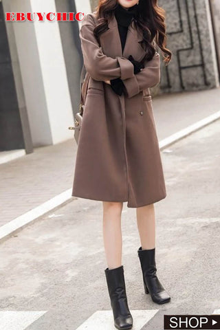 Casual loose Pure Color Double faced woolen coat