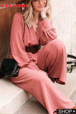 Commuting V Neck Belted Long Sleeve Pleated High-Waist Jumpsuit