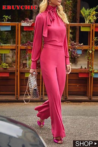Fashion High Collar Pure Colour Long Sleeve Jumpsuits