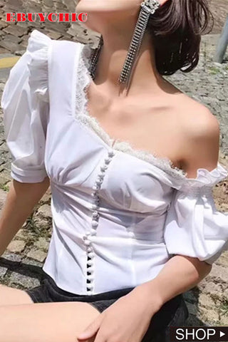 Fashion Irregular Sloping Shoulder Pleated Single-Breasted Blouse